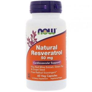 나우푸드 천연 레스베라트롤 50 mg 60 야채 캡슐
