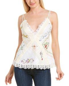 토리버치 실크블라우스Tory Burch Handkerchief Embroidered Silk-Blend