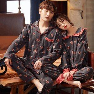테디베어 프릴소매 9부 순면 신혼부부 커플잠옷