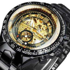 [해외]당첨자 공식 럭셔리 골드 시계 남 자동 기계 비즈니스