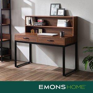 에몬스홈 인디 스틸 멀바우 서랍형 책상세트 1200 (상부선반