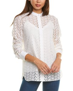 Theory Combo Silk-Blend Top