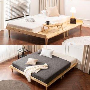 [에보니아]파인 평상형 원목 침대(SS,Q,K) 택1
