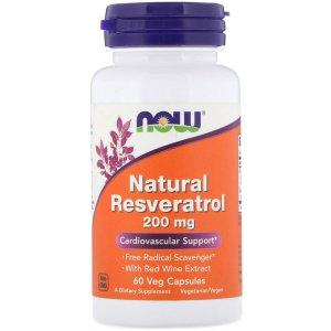 나우푸드 천연 레스베라트롤 200 mg 60 야채 캡슐