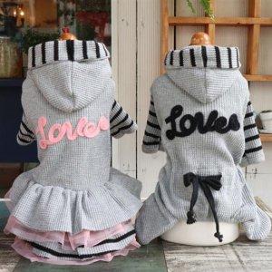 예쁜 xs강아지옷 올인원 원피스 와플 러브