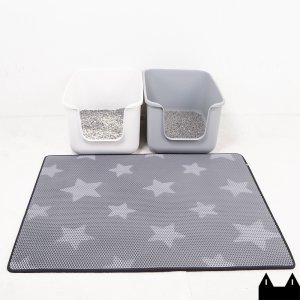 스타캣 고양이 모래매트 - 그레이별패턴 특대형(120cmX100cm)