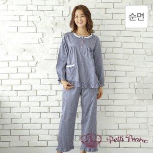 GD05916 쁘띠쁘랑 별 순면 여성 9부 프릴 잠옷 세트