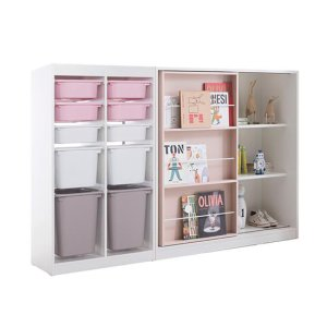 프렌즈아이 마카롱 2x5 수납장+슬라이딩 핑크책장