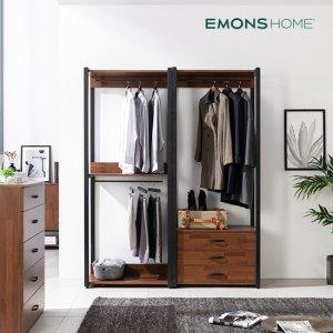 에몬스홈 인디 멀바우 스틸 드레스룸 옷장 1600 서랍형