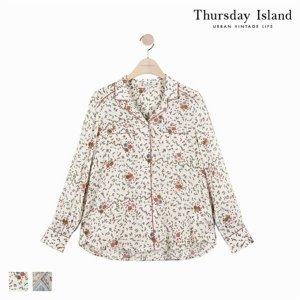 (하프클럽)[써스데이아일랜드] 여성 빈티지 패턴 파자마 셔츠형 블라우스T184MBL235_P076043509