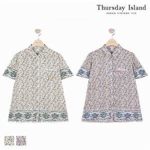 (하프클럽)[써스데이아일랜드] 여성 셔츠형 반팔 블라우스 T184MBL243W_P076043847
