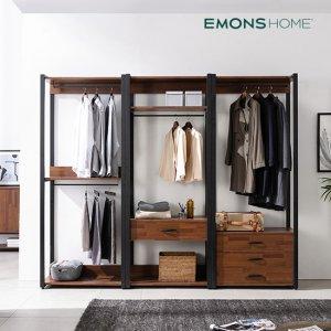 에몬스홈 인디 멀바우 스틸 드레스룸 옷장 2400 풀세트