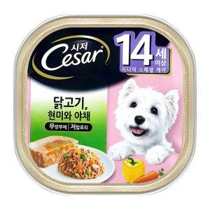 시저 강아지캔 14세 이상 닭고기와 현미와 야채 100g