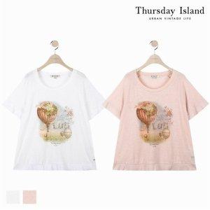 (하프클럽)[써스데이아일랜드] 여성 밑단 프릴 립단 티셔츠T184MTS231W_P076038560