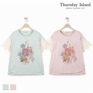 (하프클럽)[써스데이아일랜드] 여성 소매 레이스 패치 티셔츠T184MTS233W_P076038660