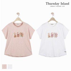 (하프클럽)[써스데이아일랜드] 여성 절개 디테일 프린트 티셔츠T184MTS235W_P076038789