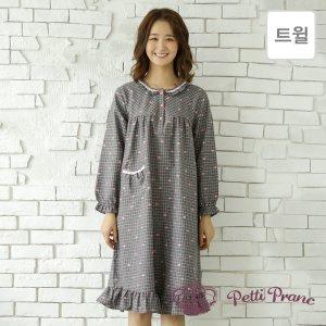 GD15918 쁘띠쁘랑 러블리 체크 트윌 여성 원피스 잠옷