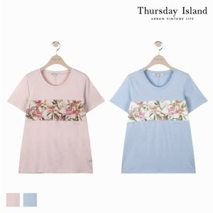 (하프클럽)[써스데이아일랜드] 여성 절개 배색 프린트 티셔츠T184MTS241W_P076038975