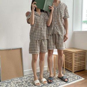 글렌체크 커플잠옷 순면파자마