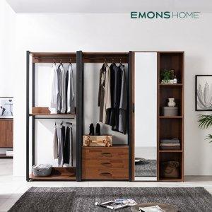에몬스홈 인디 멀바우 스틸 드레스룸 옷장 2400 서랍형