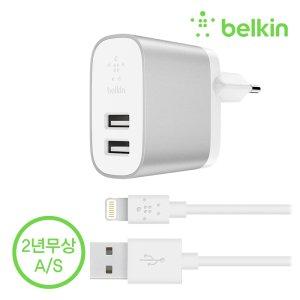 벨킨 부스트업 듀얼 충전기 + 아이폰 케이블 F8J230kr