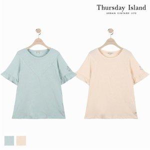 (하프클럽)[써스데이아일랜드] 여성 소매단 프릴 포인트 티셔츠T184MTS245W_P076039518