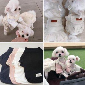 고급 강아지옷 멜빵 올인원 원피스 봄여름옷 나들이옷