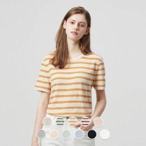 [현대백화점 목동점] [지오다노] 320522 여 라운드 반팔 티셔츠 (스트라이프/프린트)