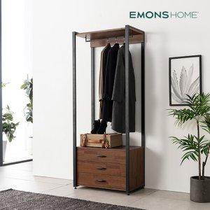 에몬스홈 인디 멀바우 스틸 드레스룸 옷장 800 3단 서랍형