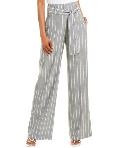 Theory Belted Linen-Blend Pant