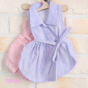 리본끈 지지미 강아지 원피스 시원한여름옷