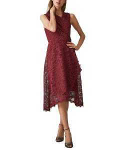 Reiss Rayna Wrap Front Lace Midi Dress