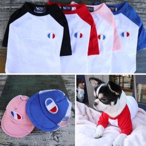 산뜻한 강아지면옷 봄옷 긴팔티 편한옷 프랑스 면티