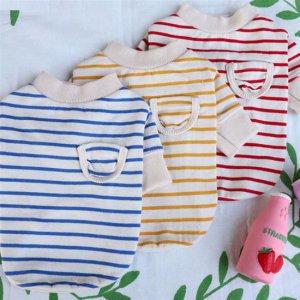 핏이 예쁜 xs강아지봄옷 면옷 줄무늬 맨투맨 외출복