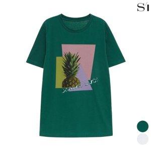 (하프클럽)[씨] 씨 프린트 비즈 레터링 박시핏 티셔츠 SUIBD2825_P072721499