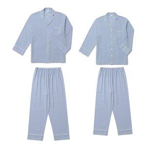 릴리안 커플 텐셀 긴소매 잠옷세트(카라형/블루)커플