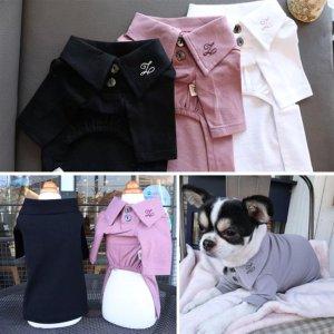신축성이 좋은 고급 실크 강아지면봄옷 클래식 면셔츠