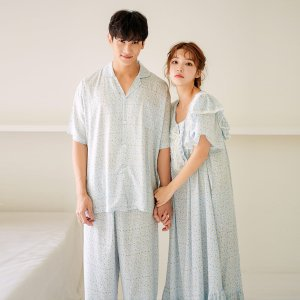 블루레나 커플 레이온 반소매 잠옷원피스여름잠옷