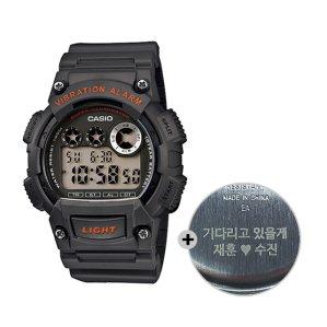 (무료각인) 카시오 전자군인시계 진동알람 W-735H-8A
