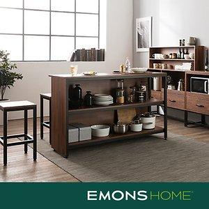 에몬스홈 인디 스틸 멀바우 다용도 홈바 테이블 1500