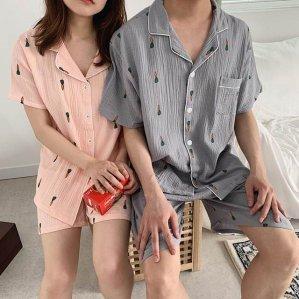 당근 거즈순면 잠옷 커플 파자마 남성용 여성용