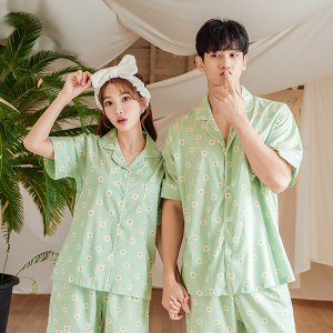 데이지 커플 모달면 반소매 잠옷세트(카라형)여름잠옷