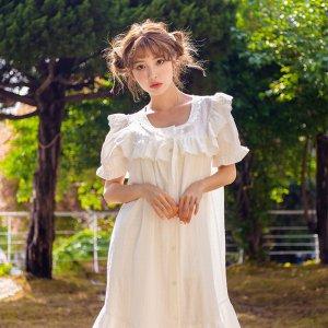 엘라 여성 크리즈면 반소매 잠옷원피스(스퀘어넥)여름