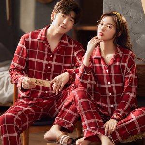 크리스마스 체크 9부 순면 신혼부부 커플잠옷