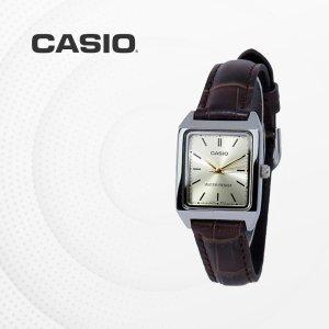 카시오 CASIO LTP-V007L-9E 가죽밴드 여성 손목시계