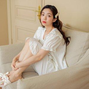 엘라 여성 크리즈면 반소매 잠옷세트(스퀘어넥)여름잠