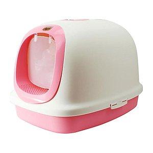 마칼 자이언트 후드형 고양이 화장실 핑크