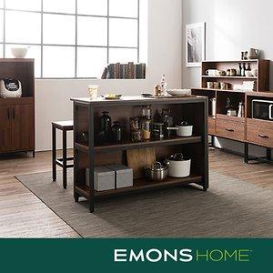 에몬스홈 인디 스틸 멀바우 다용도 홈바 테이블 1200