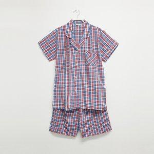 선염체크 여성 반소매 잠옷세트(카라형)여름잠옷