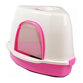 산시아 톰캣 코너 고양이 화장실 스쿱 포함 핑크